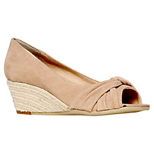 Buy Carvela Komet Suede Peep Toe Wedge Sandals, Nude Online at johnlewis.com