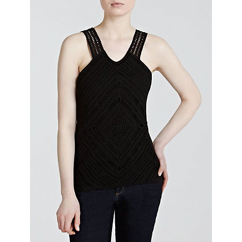 Buy Lauren by Ralph Lauren Linen Knitted Crochet Vest Top, Black Online at johnlewis.com