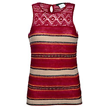 Buy Lauren by Ralph Lauren Crochet Neck Jumper, Tomato Online at johnlewis.com
