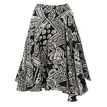 Buy Lauren by Ralph Lauren Printed Pintuck Gypsy Skirt, Black/Cream Online at johnlewis.com