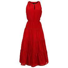 Buy Lauren by Ralph Lauren Tiered Silk Mix Dress, Tomato Online at johnlewis.com