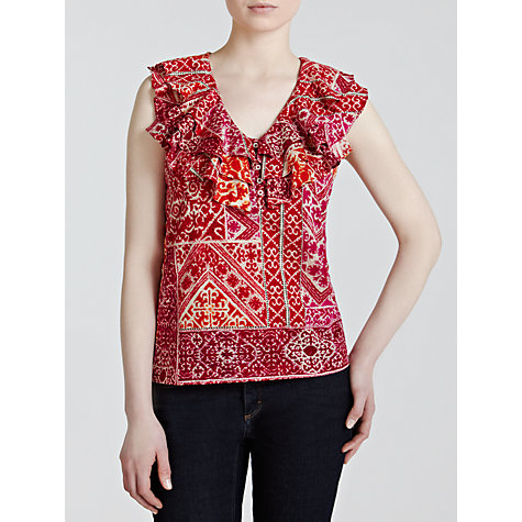 Buy Lauren by Ralph Lauren Printed Ruffle Neck Top, Multi Online at johnlewis.com