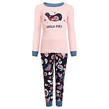 Buy Hatley Girls' Early Bird Pyjamas, Pink/Navy Online at johnlewis.com