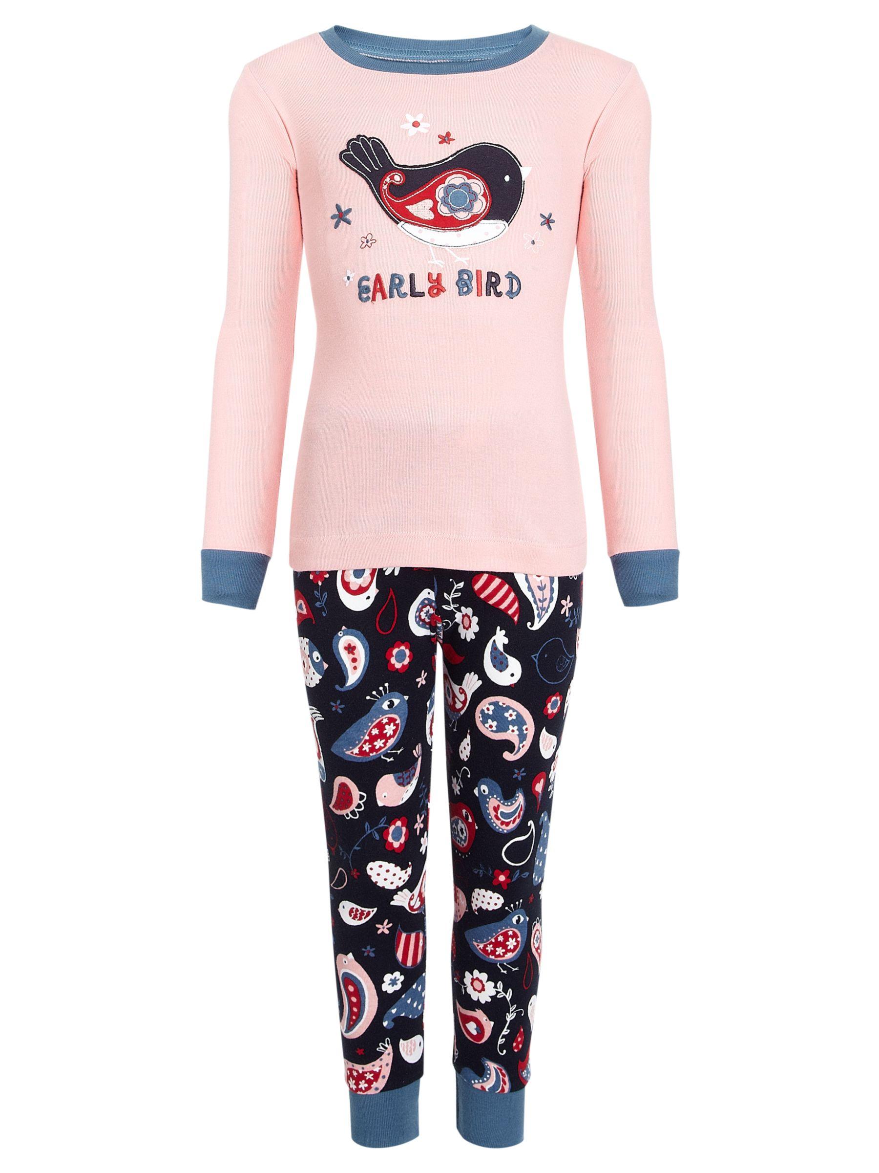 Hatley Early Bird Pyjamas, Pink/Navy