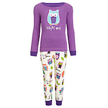 Buy Hatley Girls' Night Owl Pyjamas, Purple/Multi Online at johnlewis.com