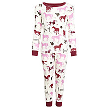Buy Hatley Girls' Plaid Horses Pyjamas, Red/Pink Online at johnlewis.com