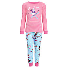 Buy Hatley Girls' Best in Snow Pyjamas, Pink/Blue Online at johnlewis.com