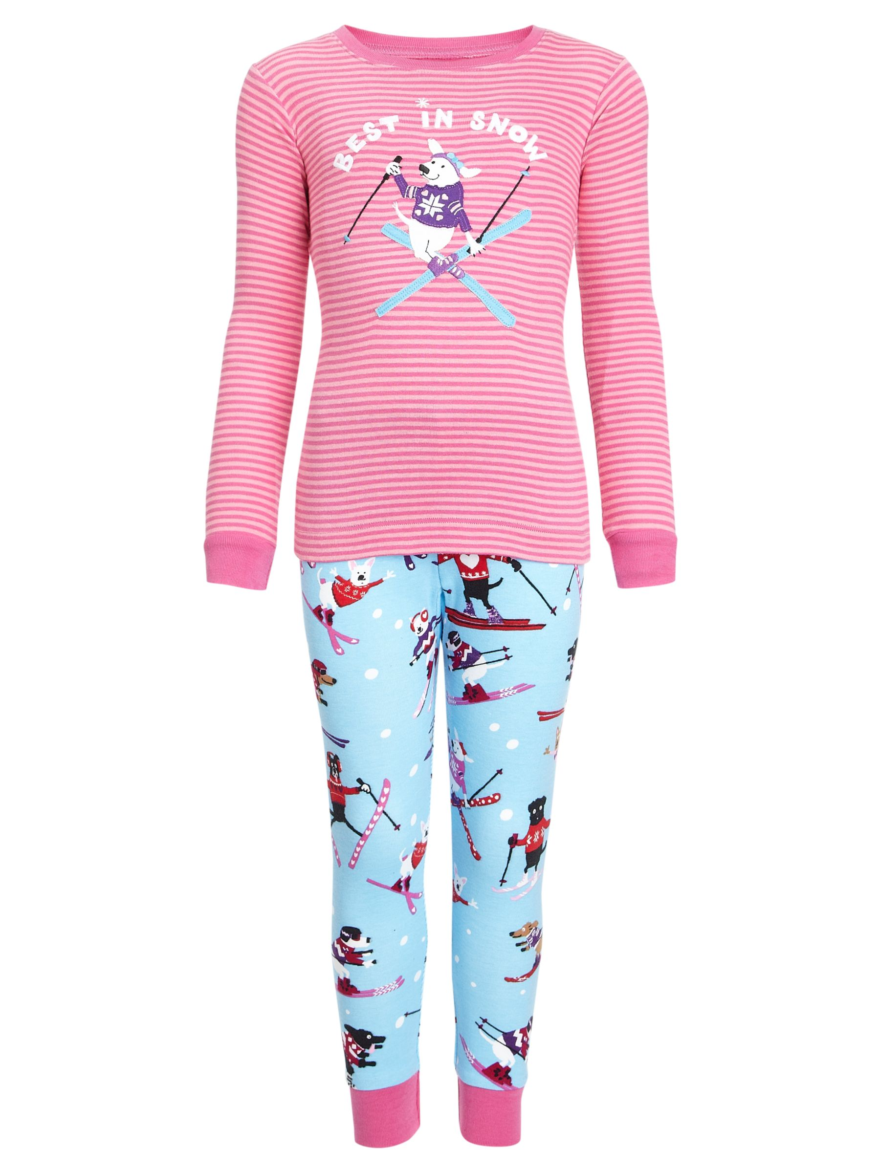Hatley Best in Snow Pyjamas, Pink/Blue