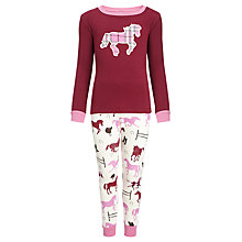 Buy Hatley Plaid Horse Applique Pyjamas, Red/Pink Online at johnlewis.com