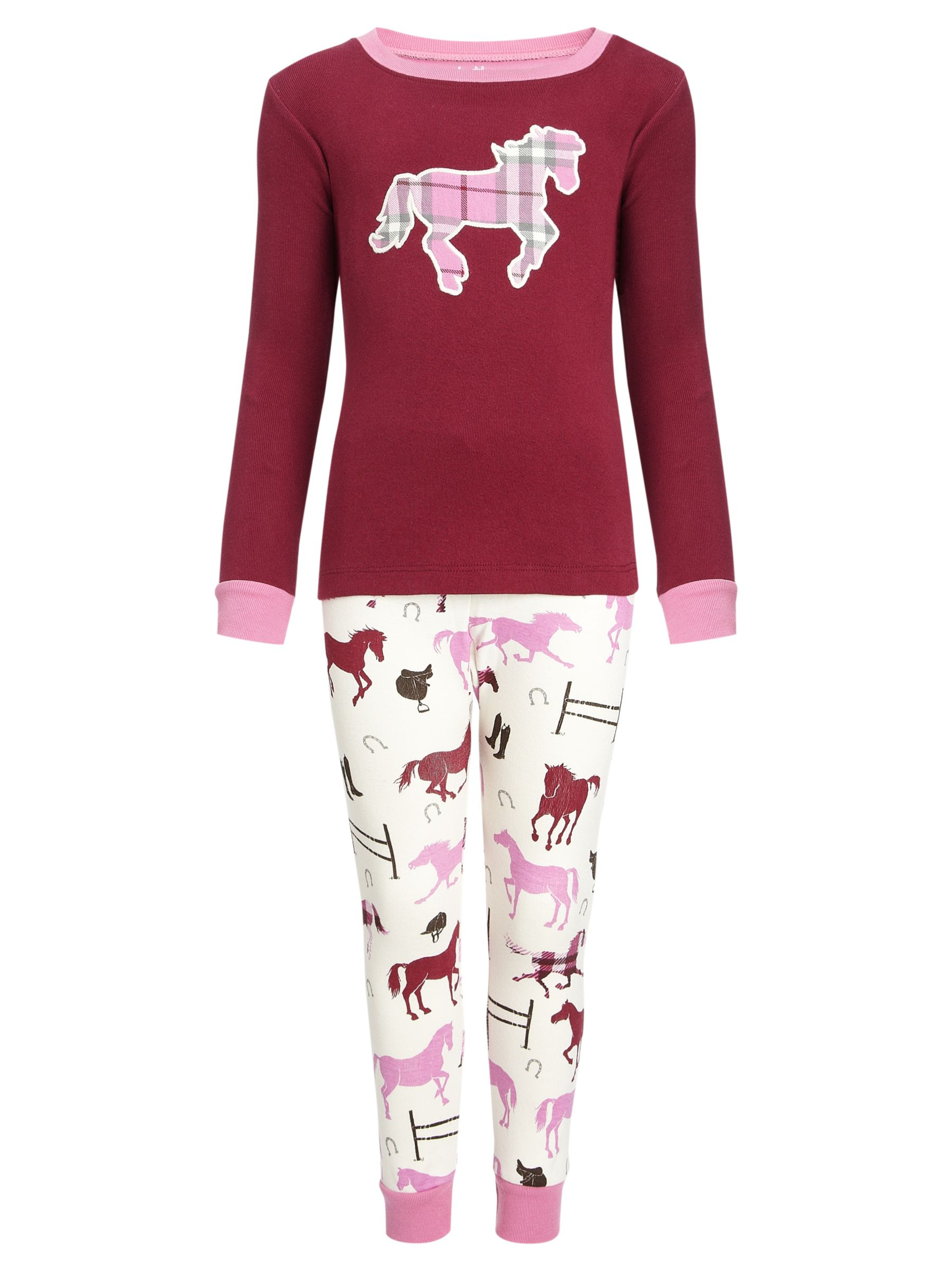 Hatley Plaid Horse Applique Pyjamas, Red/Pink