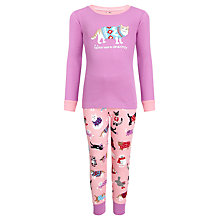 Buy Hatley Girls' Feline Warm and Cozy Pyjamas, Pink Online at johnlewis.com