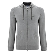 Buy Armani Jeans Small Logo Zip Hoodie, Grey Melange Online at johnlewis.com