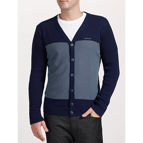 Buy Armani Jeans Contrast Wool and Cotton Cardigan Online at johnlewis.com