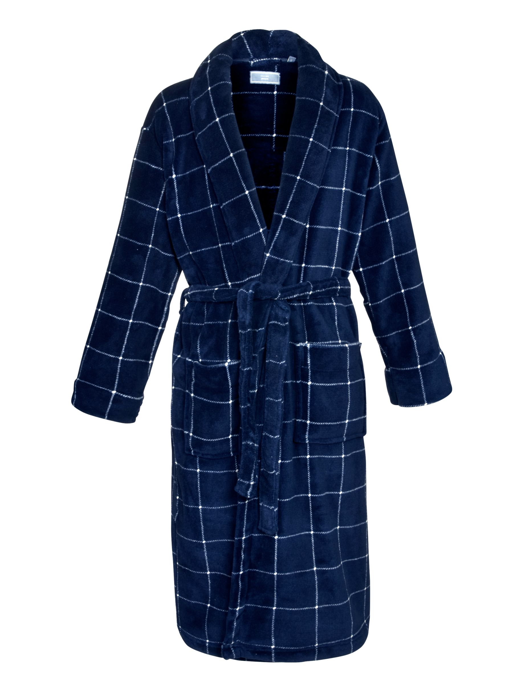 John Lewis Box Fleece Robe, Blue