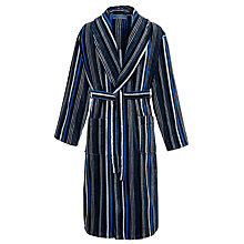 Buy John Lewis Stripe Velour Cotton Robe, Blue Online at johnlewis.com