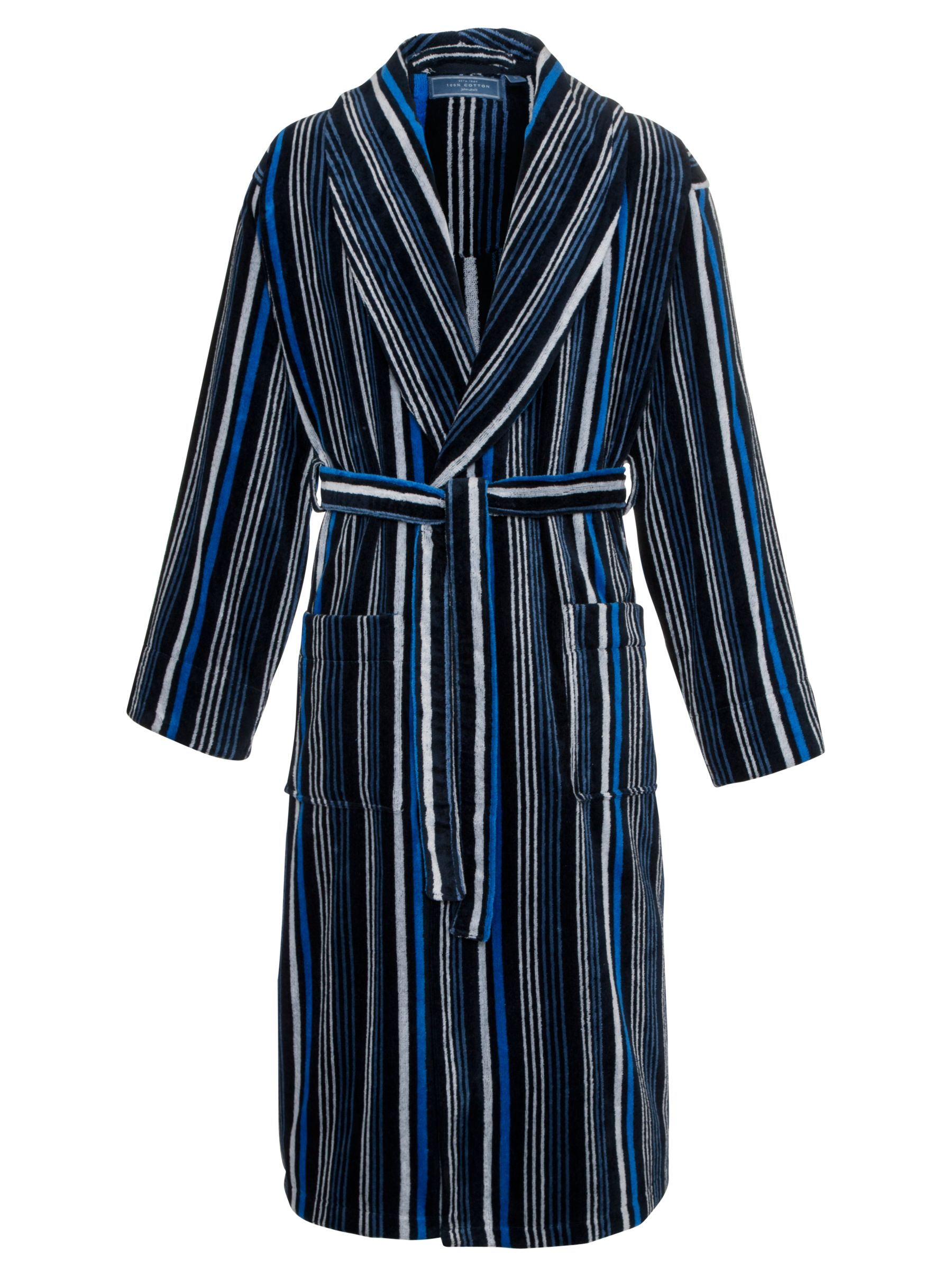 John Lewis Stripe Velour Cotton Robe, Blue