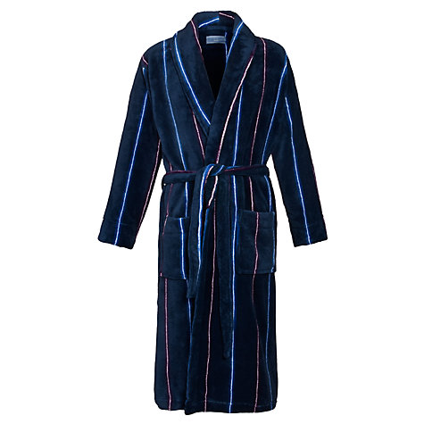 Buy John Lewis Striped Fleece Robe, Navy Online at johnlewis.com
