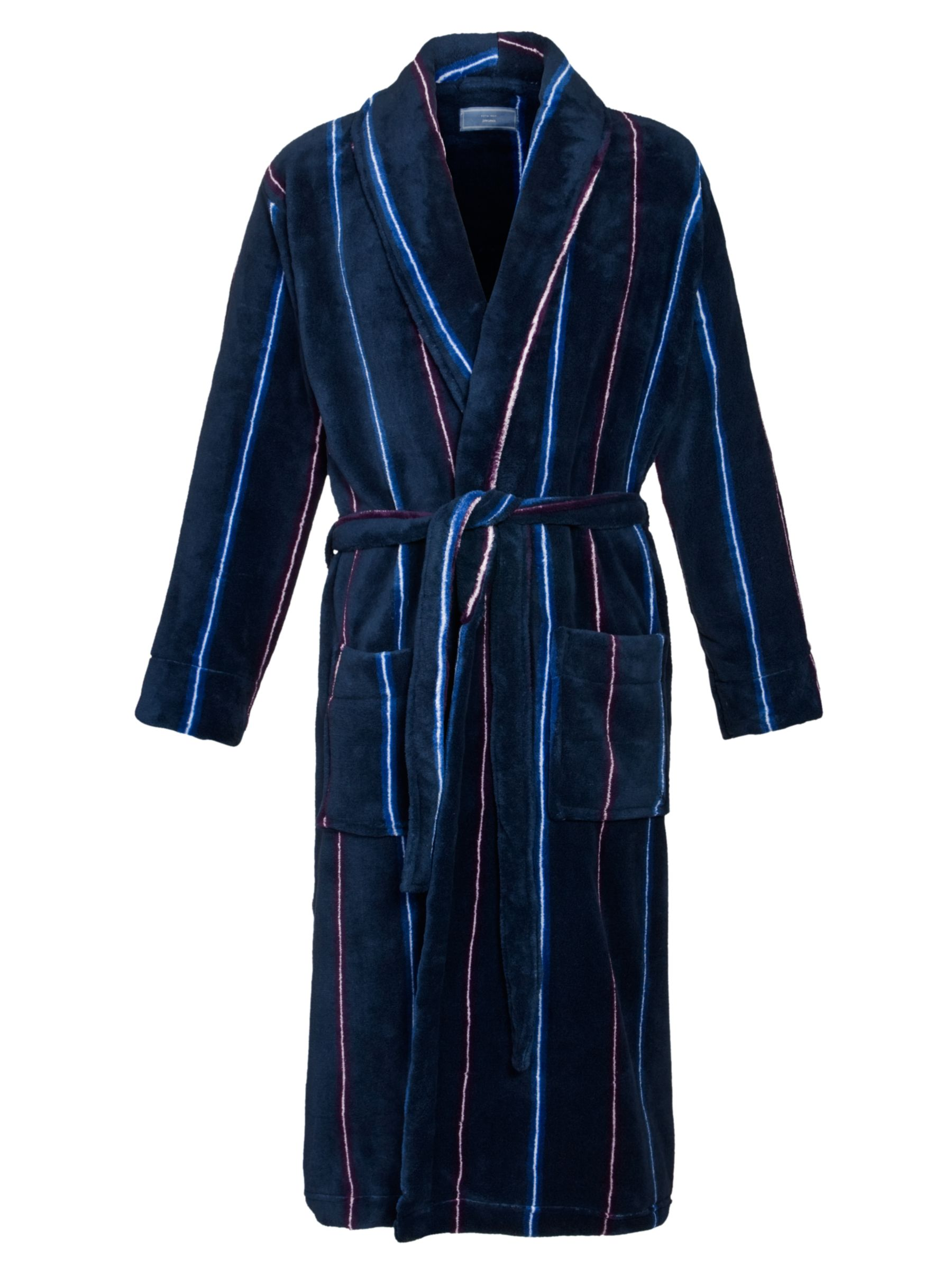 John Lewis Striped Fleece Robe, Navy
