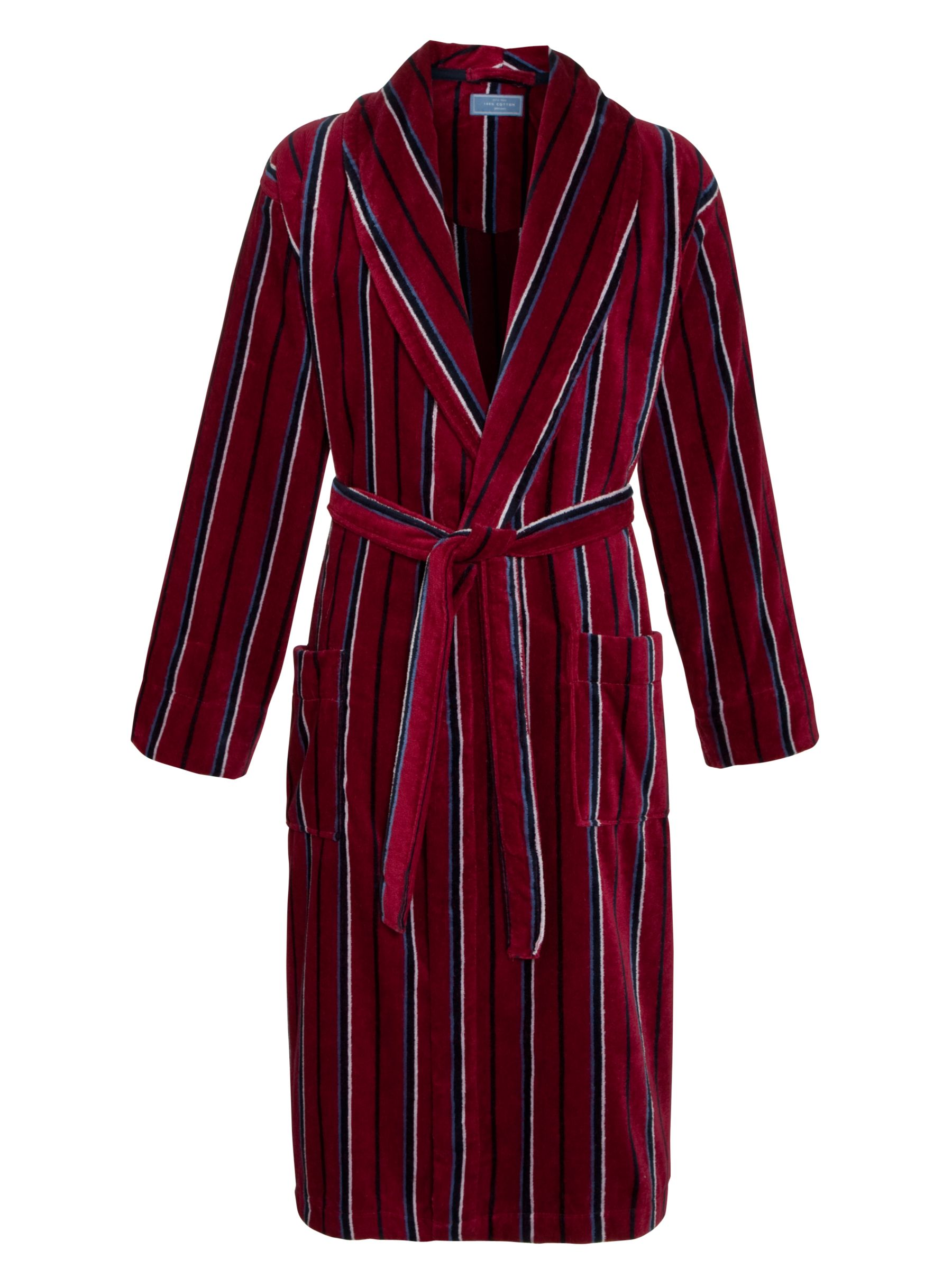 John Lewis Striped Fleece Robe, Red/Blue