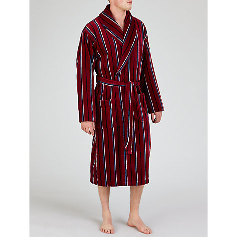 Buy John Lewis Striped Fleece Robe, Red/Blue Online at johnlewis.com