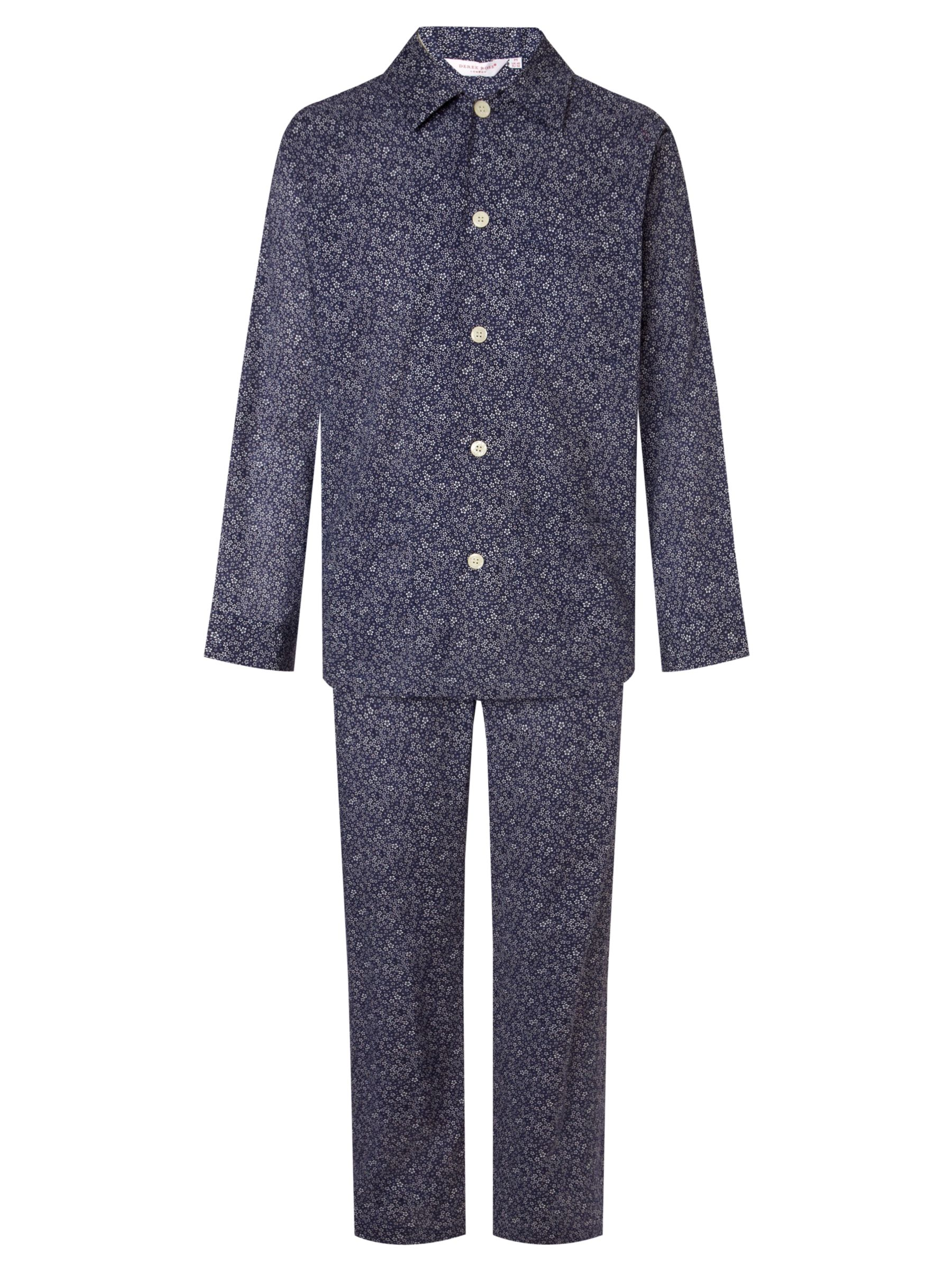 Derek Rose Dixie Floral Print Pyjamas, Blue