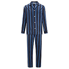 Buy Derek Rose Savile Row Satin Stripe Cotton Pyjamas Online at johnlewis.com