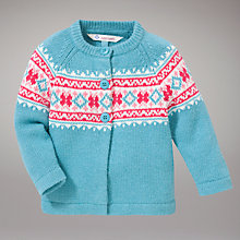Buy John Lewis Fair Isle Cardigan, Turquoise Online at johnlewis.com