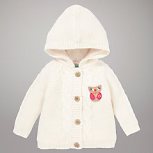 Buy John Lewis Hooded Cable Knit Owl Cardigan, Cream Online at johnlewis.com