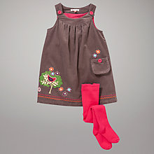 Buy John Lewis Embroidered Corduroy Pinafore Dress and Tights Set, Brown Online at johnlewis.com