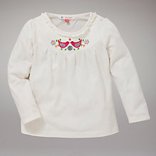 Buy John Lewis Bird Long Sleeved Swing Top, Cream Online at johnlewis.com