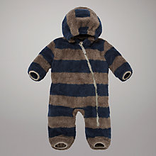 Buy Hatley Boys Rugby Stripe Sleepsuit, Brown/Navy Online at johnlewis.com