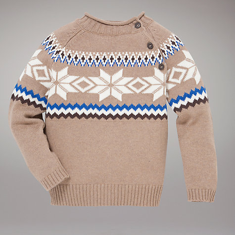 Buy John Lewis Fair Isle Piecrust Jumper, Stone Online at johnlewis.com