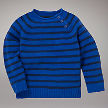 Buy John Lewis Striped Pie Crust Collar Jumper, Blue/Navy Online at johnlewis.com
