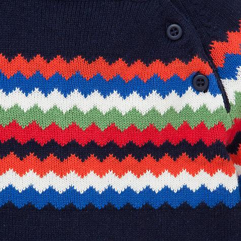 Buy John Lewis Zigzag Piecrust Jumper, Navy Online at johnlewis.com