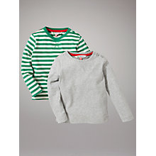 Buy John Lewis Striped and Plain Tops, Pack of 2, Green/Grey Online at johnlewis.com