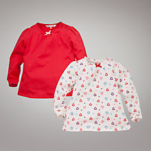 Buy John Lewis Owl Tops, Pack of 2, Red Online at johnlewis.com