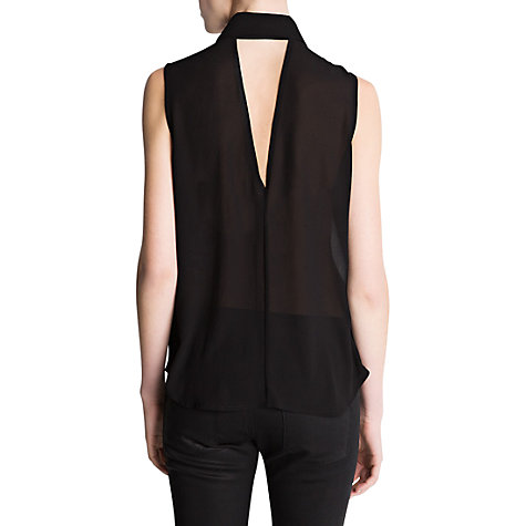 Buy Mango Metallic Collar Top, Black Online at johnlewis.com