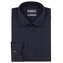 Buy John Lewis Tailored Stripe Long Sleeve Shirt, Navy/Black Online at johnlewis.com