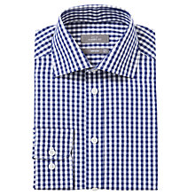 Buy John Lewis Large Gingham Check Long Sleeve Shirt, Navy Online at johnlewis.com