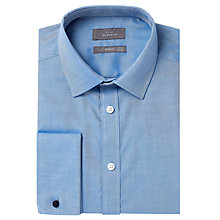 Buy John Lewis Non Iron Rib Twill Double Cuff Tailored Fit Shirt, Blue Online at johnlewis.com