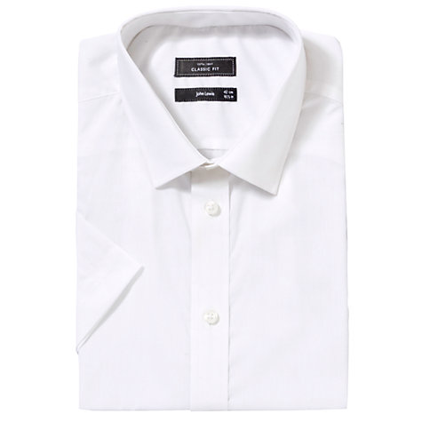 Buy John Lewis Easy Care Poplin Short Sleeve Shirt, White Online at johnlewis.com