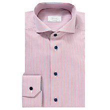 Buy Eton Fine Stripe Long Sleeve Shirt, Red Online at johnlewis.com