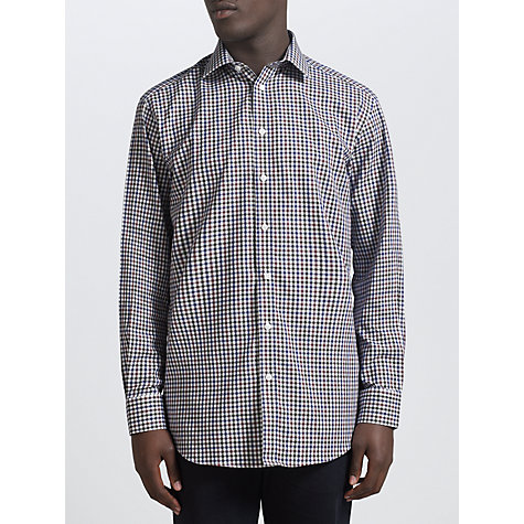 Buy John Lewis Brushed Cotton Gingham Check Long Sleeve Shirt, Purple Online at johnlewis.com