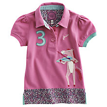 Buy Little Joule Short Sleeve Horse Appliqué Polo Shirt, Pink Online at johnlewis.com