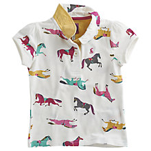 Buy Little Joule Short Sleeve Pony Printed Polo Shirt, Cream Online at johnlewis.com