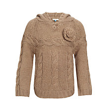 Buy John Lewis Girl Flower Detail Hooded Jumper, Oyster Online at johnlewis.com