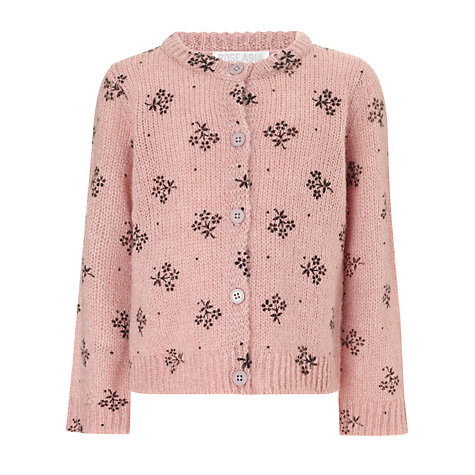 Buy John Lewis Girl Floral Cardigan, Pink Online at johnlewis.com