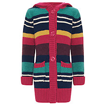 Buy John Lewis Girl Longline Hooded Cardigan, Multi Online at johnlewis.com