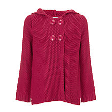 Buy John Lewis Girl Texture Knit Cardigan, Red Online at johnlewis.com