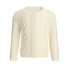Buy John Lewis Girl Chunky Knit Cardigan, Cream Online at johnlewis.com
